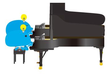 同じ方向に並べる2台ピアノ